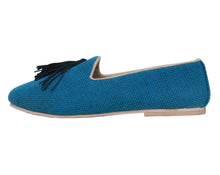 Black Tassel Sea Blue Slip-Ons