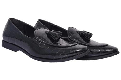 Black Croc Patent Men Moccasins Shoes(New launch)