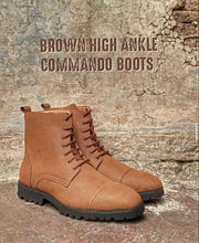 Brown Suede High Ankle Commando Boots