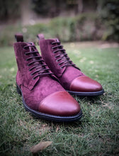 Burgundy High Ankle Military Boots