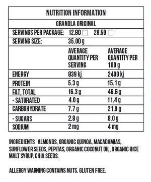 Nutrition info Fodmap Friendly 'Original' Granola - Nourished by Carms