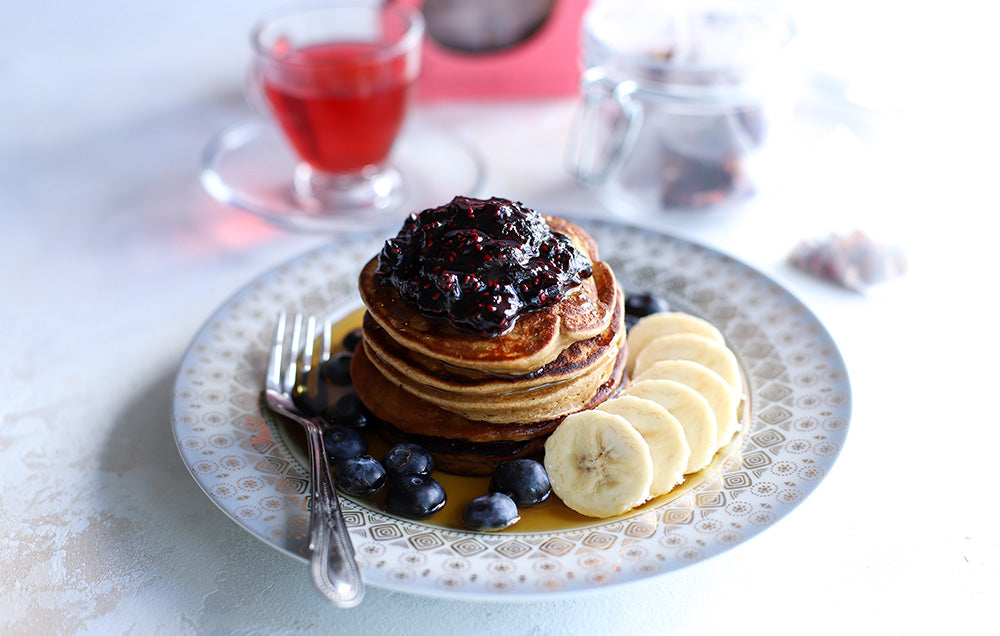 Banana Pancakes with Super Berry Tea Infused Compote