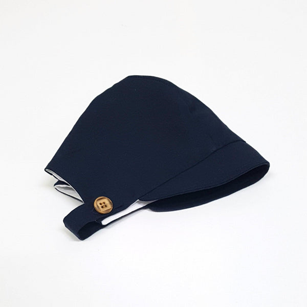 Button Baby Bonnet in Navy Linen