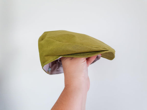 Flat Cap in Green Linen