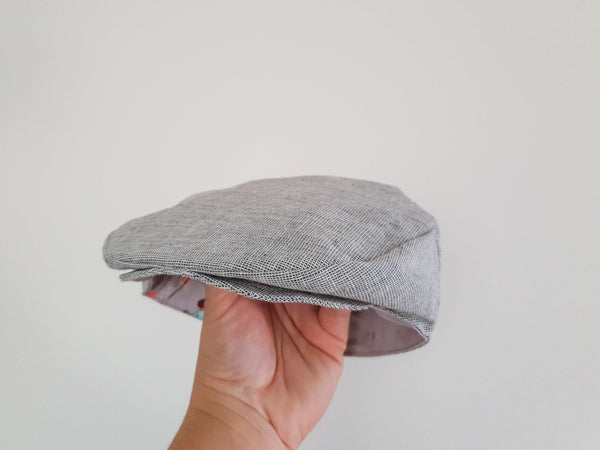 Flat Cap in Charcoal Chambray