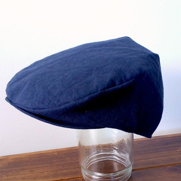 Flat Cap in Navy Linen - Hats and bonnets - edmund-rose (723698122779)