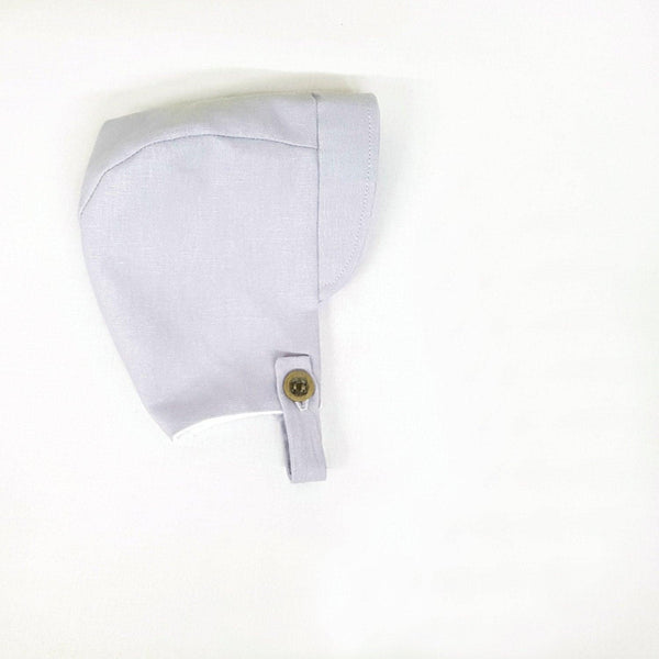 Button Baby Bonnet in Grey Linen