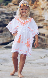 Allegra White Embroidered Kids Boho Kaftan