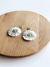 Aqua Gold and White Fan Earrings