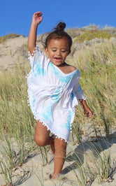 Aria Blue & White Embroidered Kids Boho Kaftan