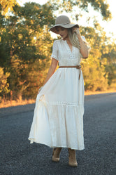 Beige Daisy Girl Long Boho Dress
