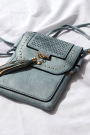 Baby Blue Studded Vegan Leather Flip Pouch Feather Fox Boutique