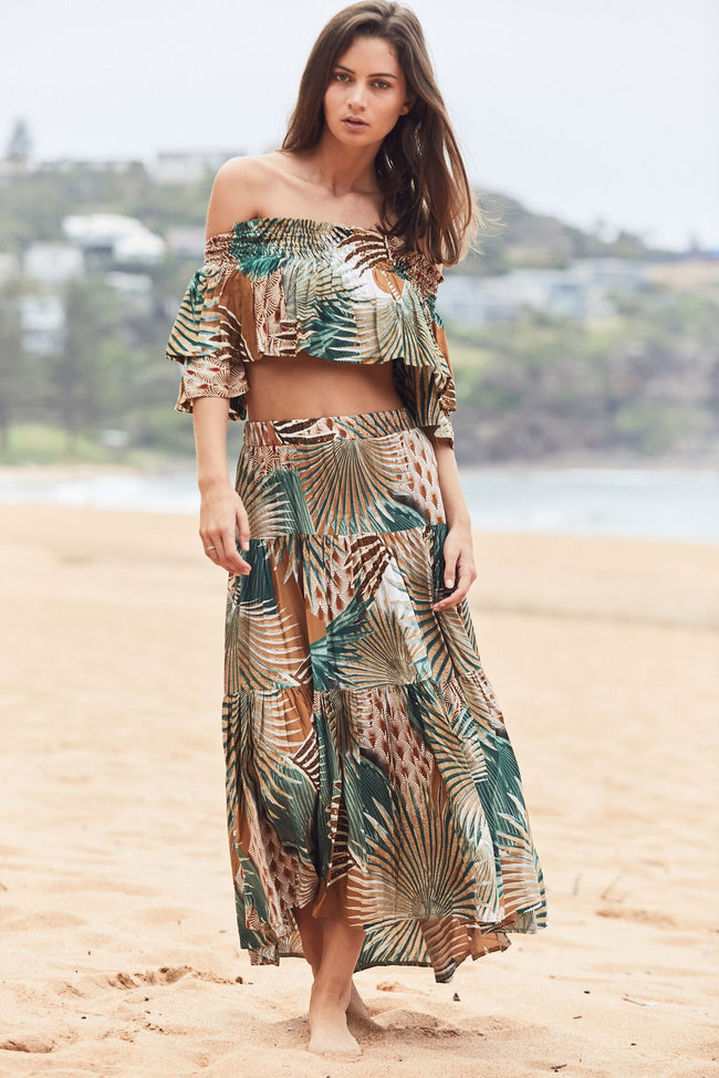 Summer Palm Print Frill Bandeau Top and Frill Skirt Feather Fox Boutique