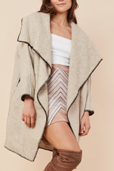 Beige Shawl Wide Collar Coat