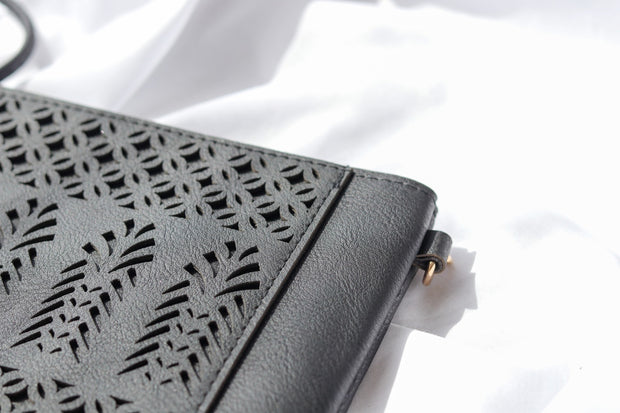 Black Boho Vegan Leather Zip Pouch Crossover Bag Feather Fox Boutique Burleigh Heads