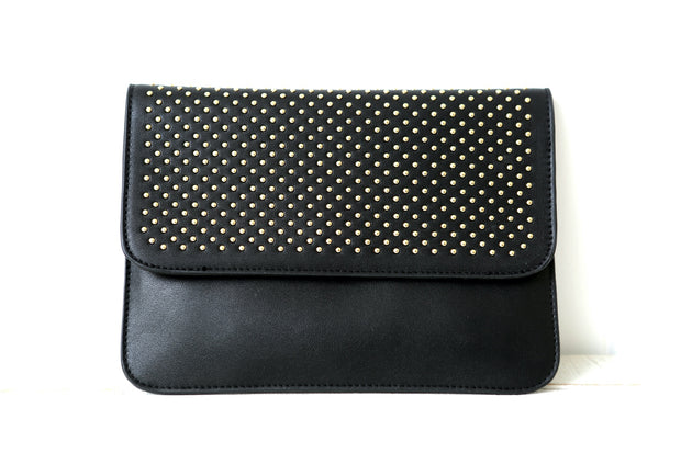 Black Curved Stud Clutch Bag Feather Fox