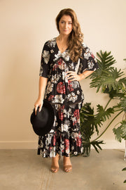 Black Floral Boho Maxi Dress Feather Fox Boutique Gold Coast