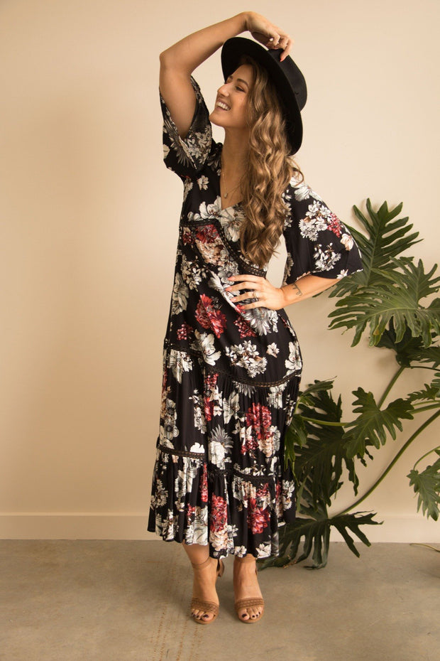 Black Floral Boho Maxi Dress Feather Fox Boutique