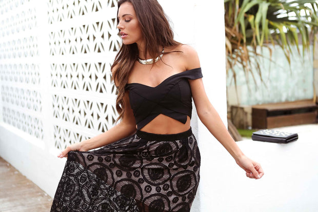 Black Lace Chic Skirt Feather Fox