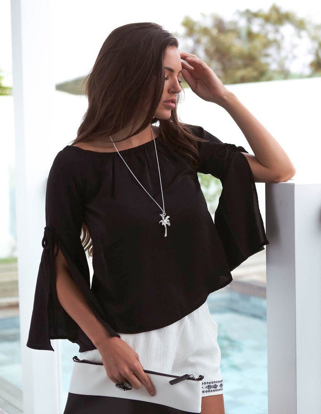 Black Off Shoulder Top Feather Fox