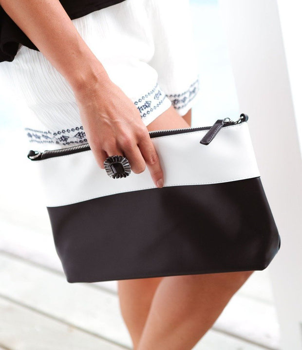 Black & White Panelled Cross Womens Handbag Feather Fox