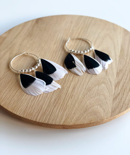 Black and White Feather Hoop Earrings
