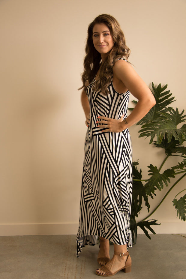 Black and White Stripe Dress - Feather Fox Boutique QLD Australia