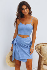 Blue Cut Out Sun Dress Womens Clothing Feather Fox