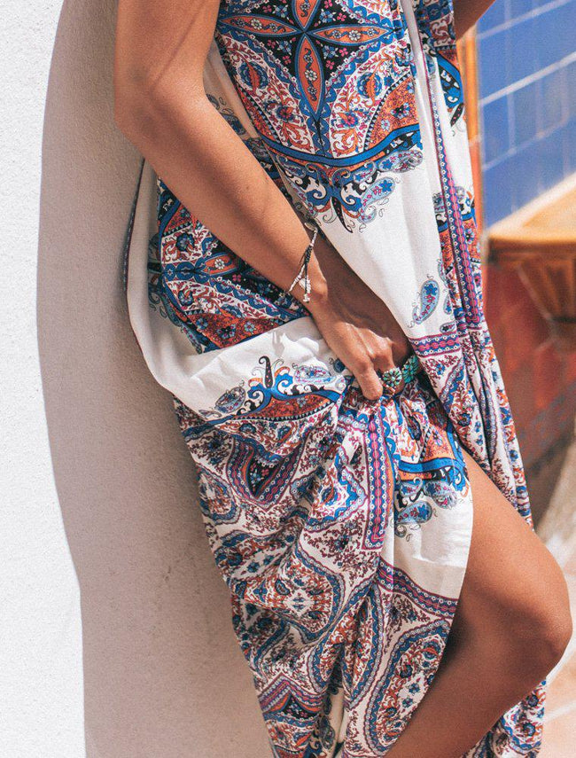 Blue Florence Gypsy Maxi Dress from Feather Fox Boutique