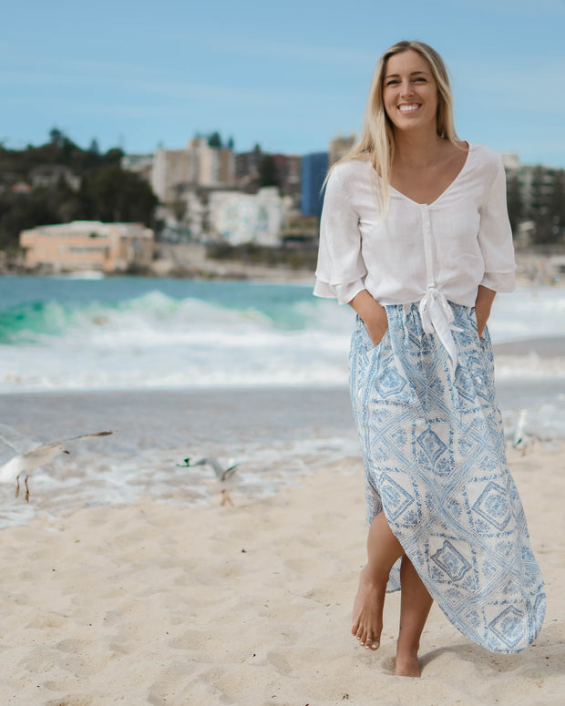 Blue Mosaic Maxi Skirt Feather Fox Boutique