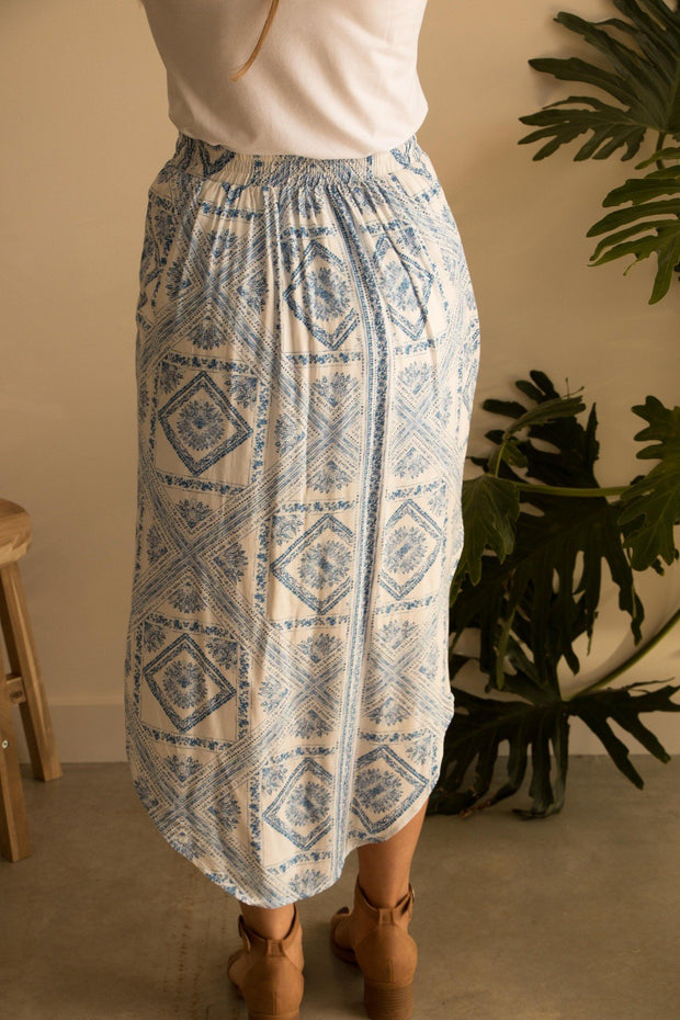 Blue Mosaic Summer Skirt Feather Fox Boutique