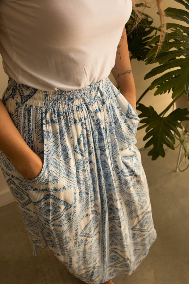 Blue Mosaic Summer Skirt with Pockets Feather Fox Boutique