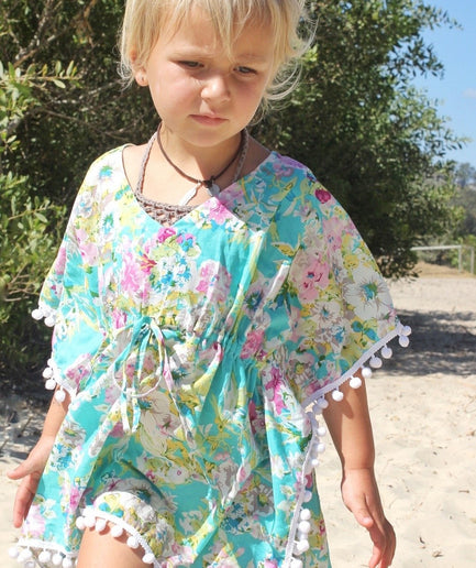Baby Girls Autumn Blue Boho Kaftan