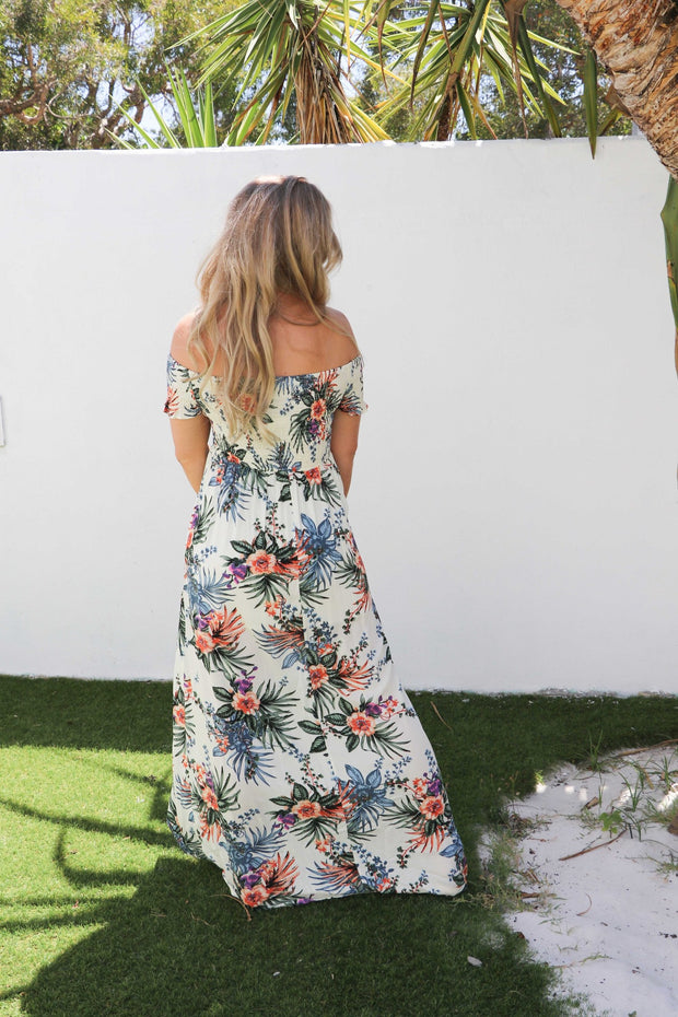 Boho Tropical Floral Maxi Dress Bohemian Clothing Feather Fox Boutique