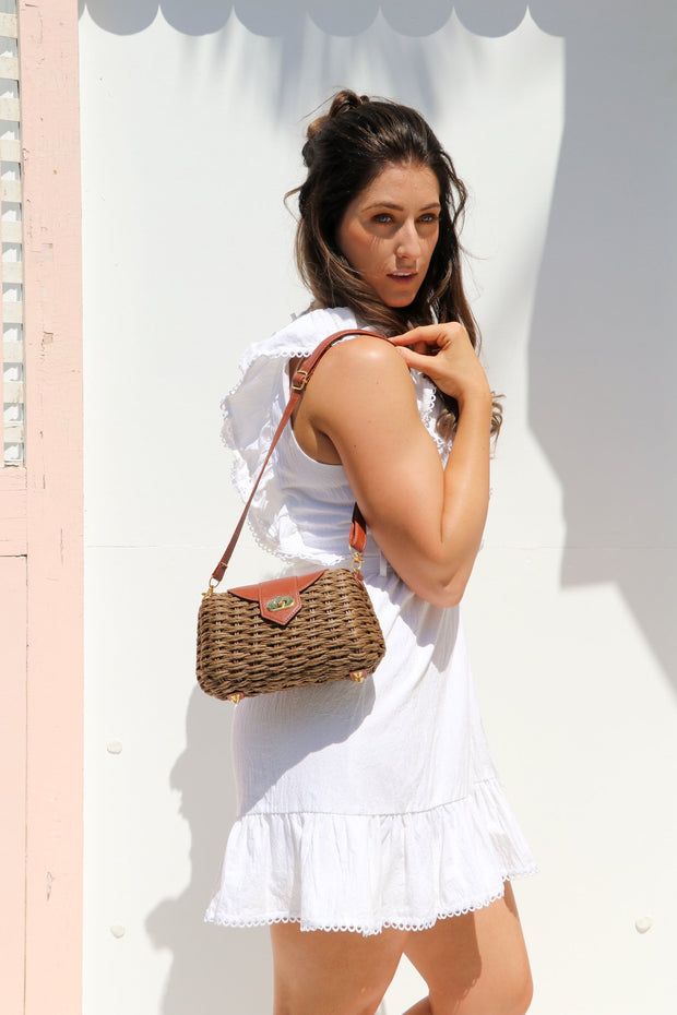 Brown Wicker Bag Feather Fox Boutique Burleigh Heads
