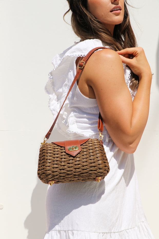Brown Wicker Bag Feather Fox Boutique Gold Coast