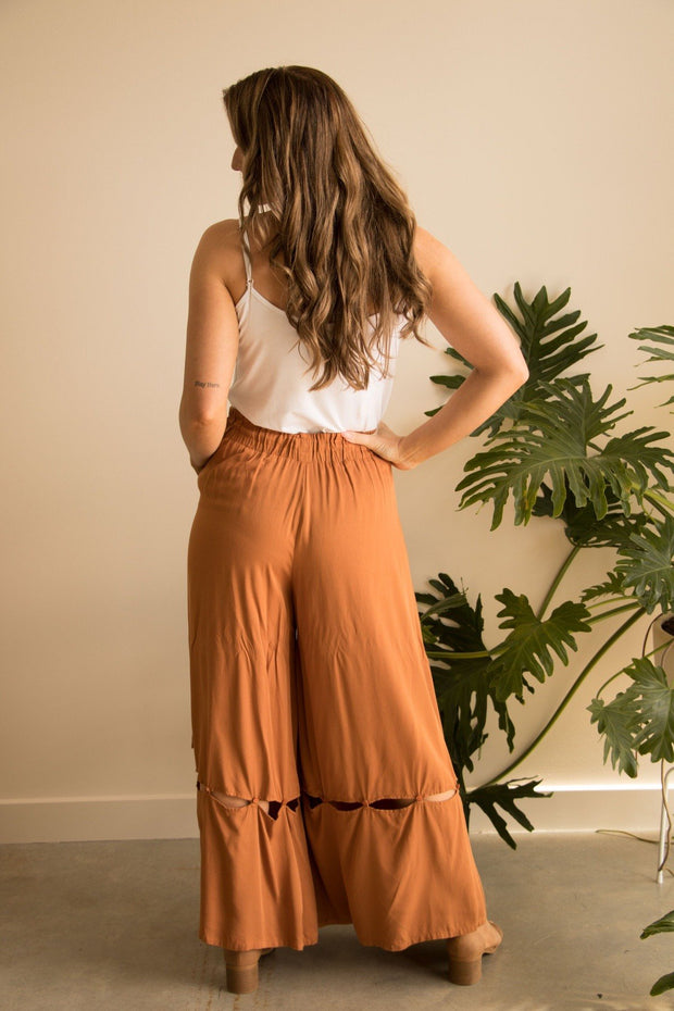 Brown Wide Leg High Waist Pant Feather Fox Boutique Australia