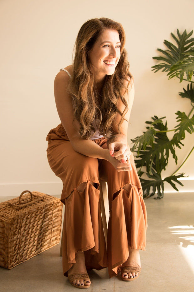 Brown Wide Leg High Waist Pant Feather Fox Boutique