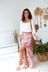Burnt Rose Maxi Boho Skirt