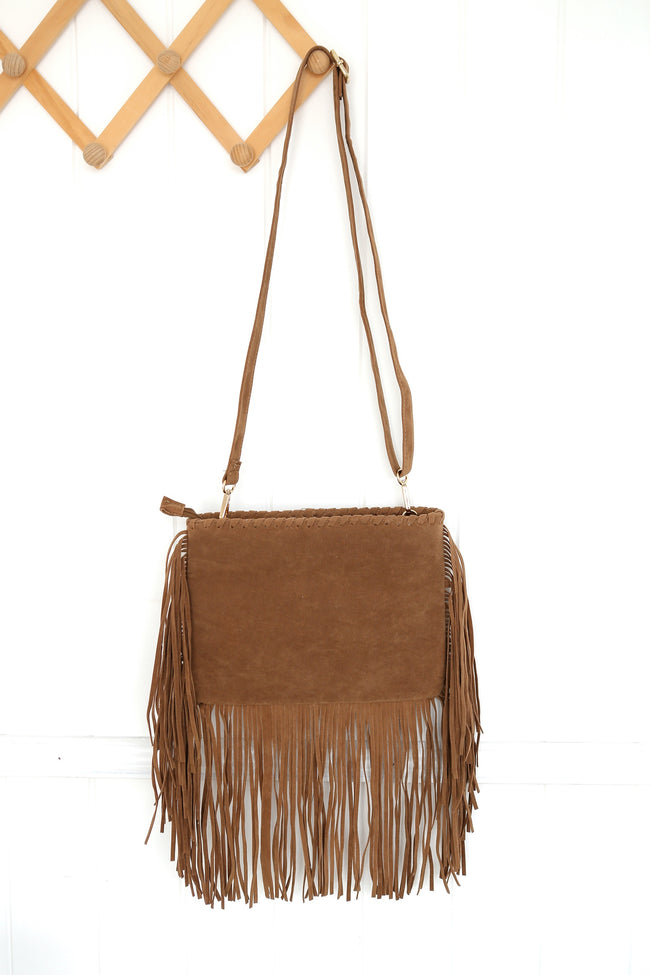 Women's Camel Tassel Clutch Boho Bag