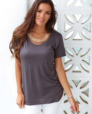 Charcoal Scoop Neck Tee Feather Fox Boutique Basics