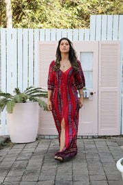 Cherry Floral Boho Maxi Dress Feather Fox Boutique Burleigh Heads