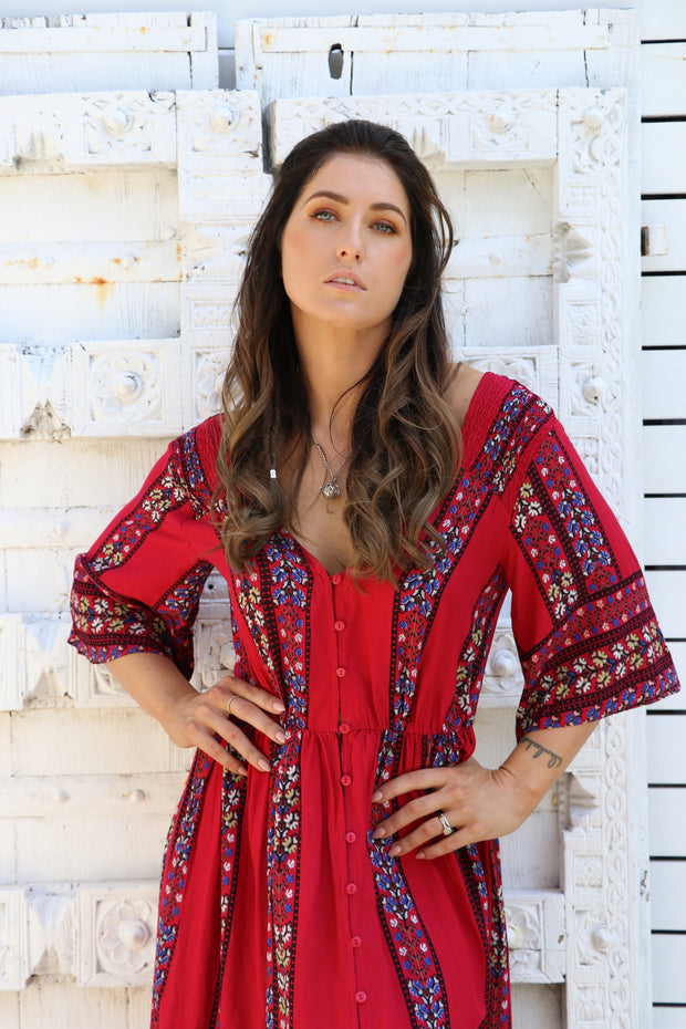 Cherry Floral Boho Maxi Dress Feather Fox Boutique Burleigh Heads Gold Coast