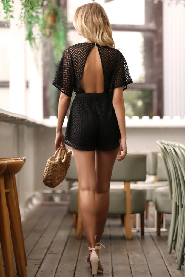 Chevron Black Lace Playsuit Feather Fox
