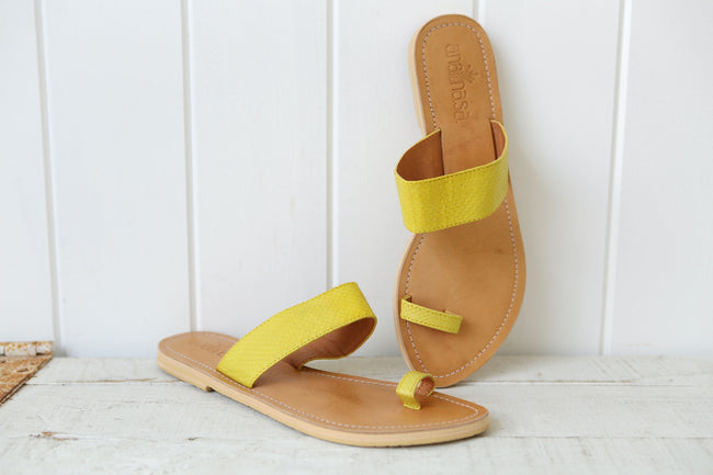 Citron Strap Women's Slide Sandals Feather Fox