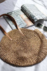 Womens Coffee Round Straw Bag Feather Fox Boutique Australia