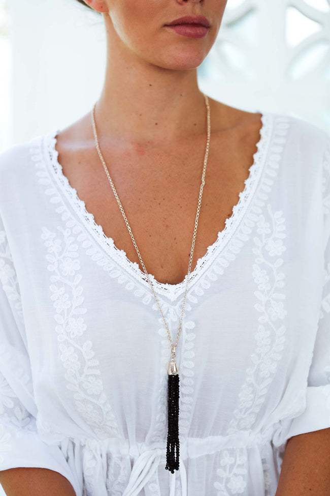 Crystal Black Tassel Necklace Feather Fox Boutique