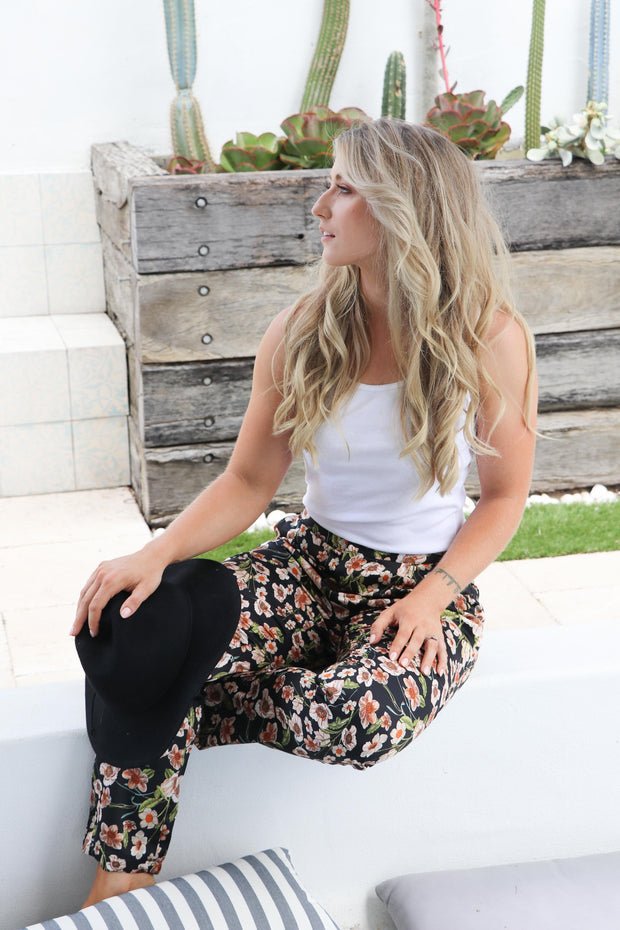 Dark Navy Boho Floral Pant Feather Fox Boutique