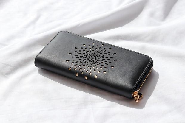 Droplet Black Vegan Leather Wallet Feather Fox Boutique Gold Coast