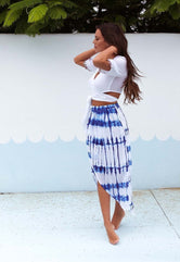Electric Blue Wrap Overlay Skirt